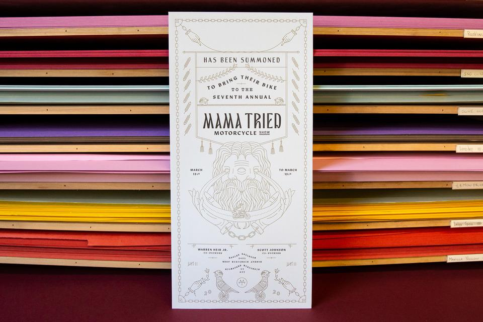 Three-Headed Design's Mama Tried Motorcycle Show Invites