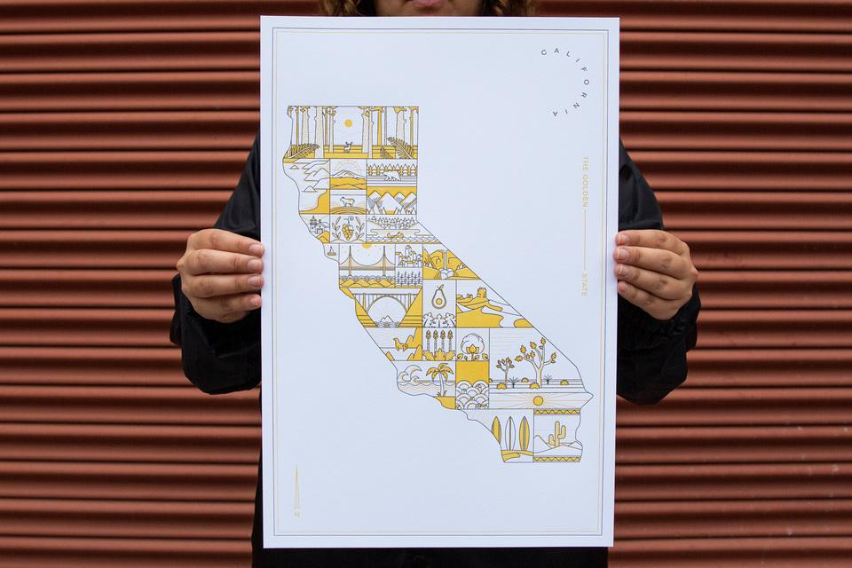 Russel Shaw's California Letterpress Poster